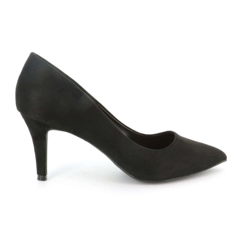 Escarpin Femme En Daim - Chaussures Couleur Unie Classique - Haut Talon Cérémonie - Sexy Mariage Chic Elégant Couleur NOIR