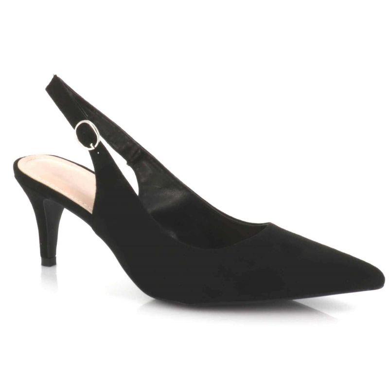 Escarpin Femme Aiguille Lanière Bouclé En Arrière - Sandale Bout fermé Talon 7 Cm - Chaussures Eté En Velours