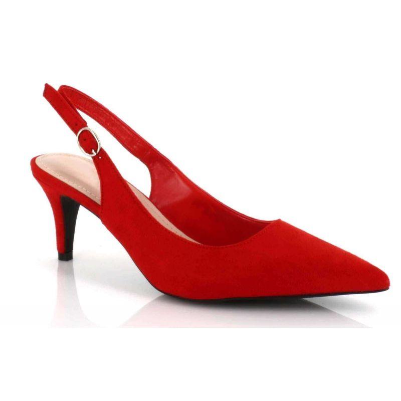 Escarpin Femme Aiguille Lanière Bouclé En Arrière - Sandale Bout fermé Talon 7 Cm - Chaussures Eté En Velours Couleur ROUGE