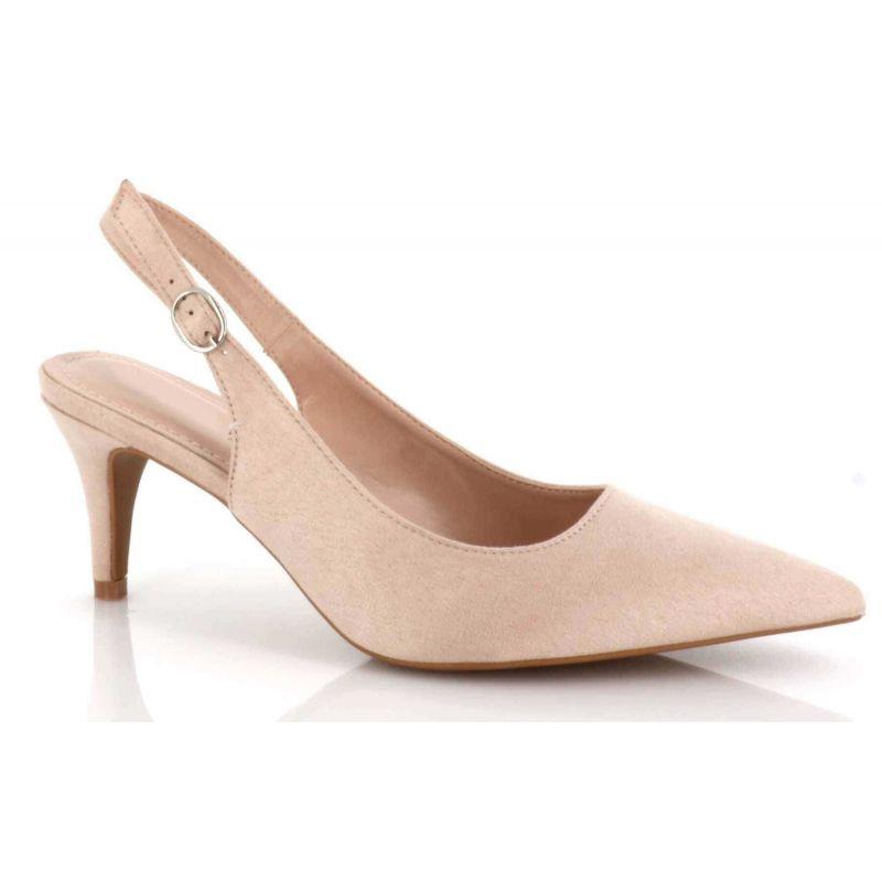 Escarpin Femme Aiguille Lanière Bouclé En Arrière - Sandale Bout fermé Talon 7 Cm - Chaussures Eté En Velours Couleur BEIGE