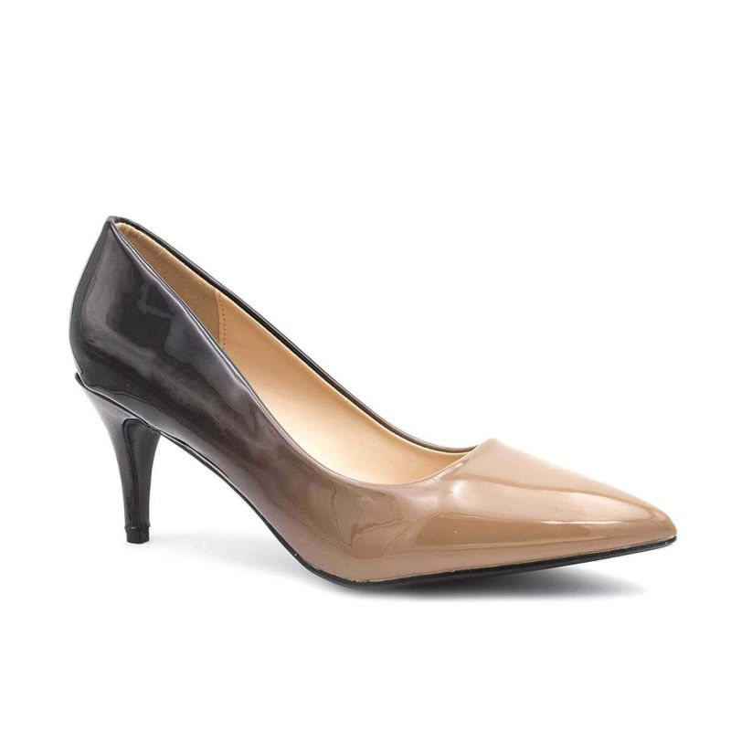 Escarpin Femme Vernis - Chaussure Dégradées Haut Talon Fin 6.5 CM Couleur BEIGE