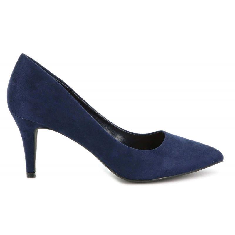 Escarpin Femme En Daim - Chaussures Couleur Unie Classique - Haut Talon Cérémonie - Sexy Mariage Chic Elégant Couleur BLEU
