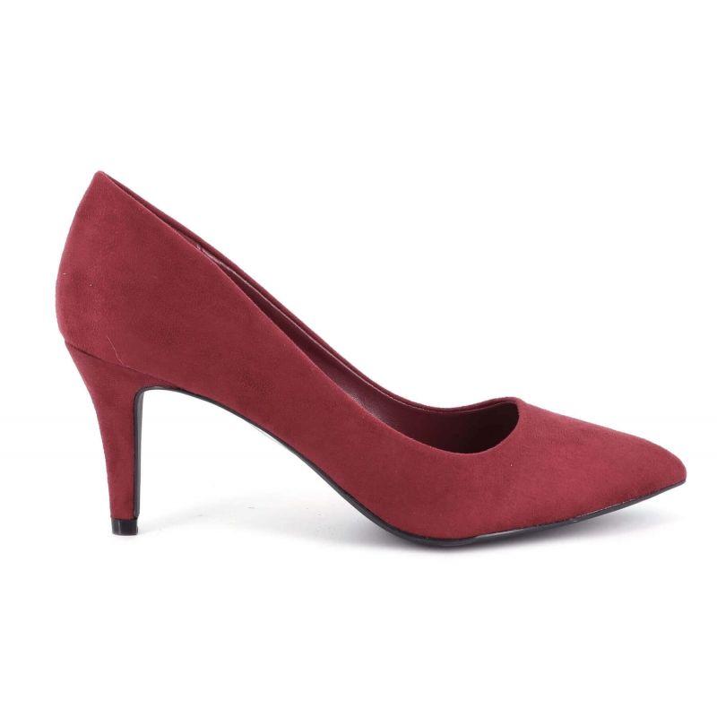 Escarpin Femme En Daim - Chaussures Couleur Unie Classique - Haut Talon Cérémonie - Sexy Mariage Chic Elégant Couleur BORDEAUX