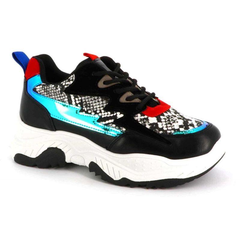 Basket Femme plateforme-chaussure de sport compensée-sneaker casual multi-colore-mode et tendance Couleur NOIR