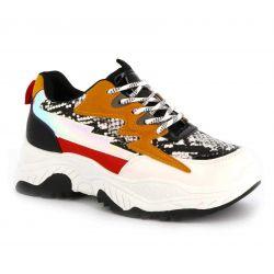 Basket Femme plateforme-chaussure de sport compensée-sneaker casual multi-colore-mode et tendance K-08 Baskets