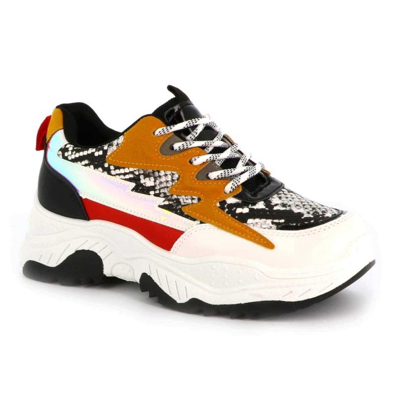 Basket Femme plateforme-chaussure de sport compensée-sneaker casual multi-colore-mode et tendance Couleur BLANC