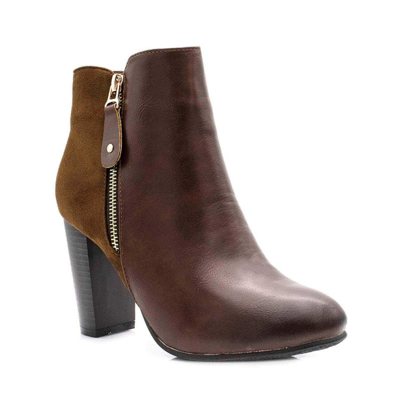 Bottines Femme Chelsea Simili Cuir daim Couleur MARRON