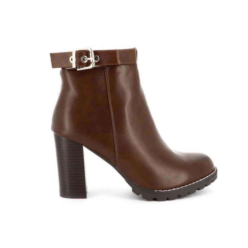 Boots Chelsea Femme Simili Cuir - Bottines Brides Couleur CAMEL