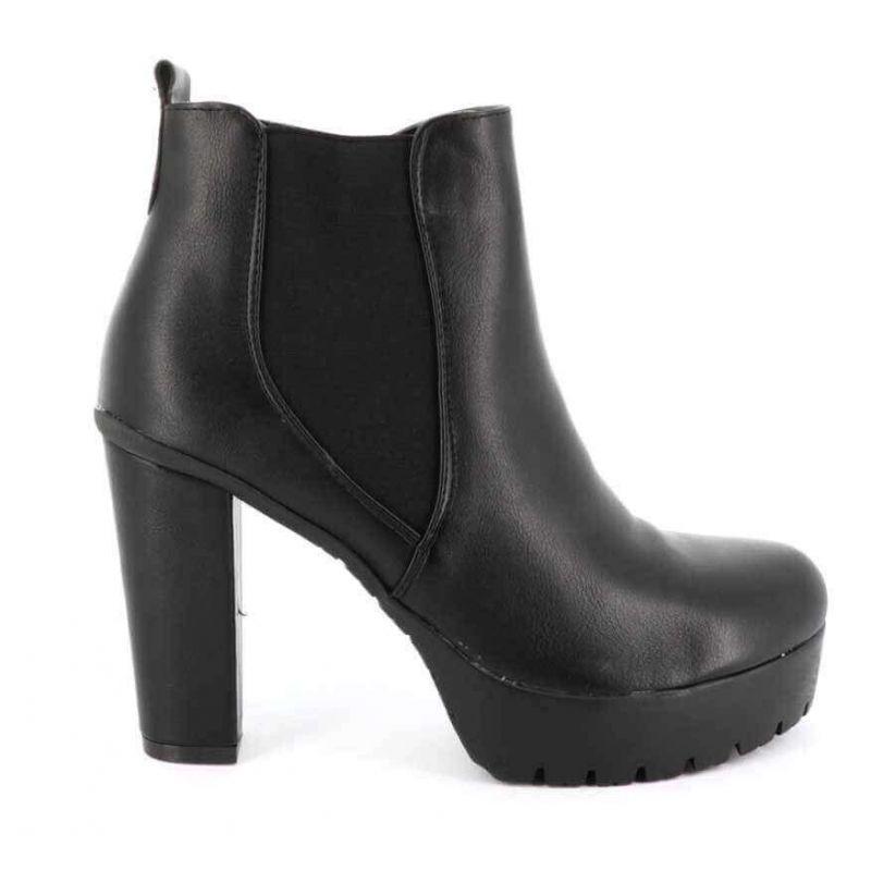 Bottines Femme Chelsea Originales - Boot Bi-matière Couleur NOIR