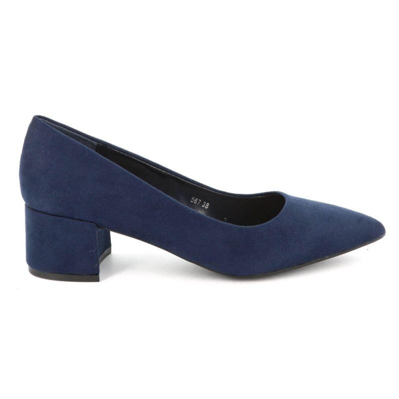 Escarpin Femme Talon Bas Bloc – Chaussure de bureau Classique Couleur BLEU