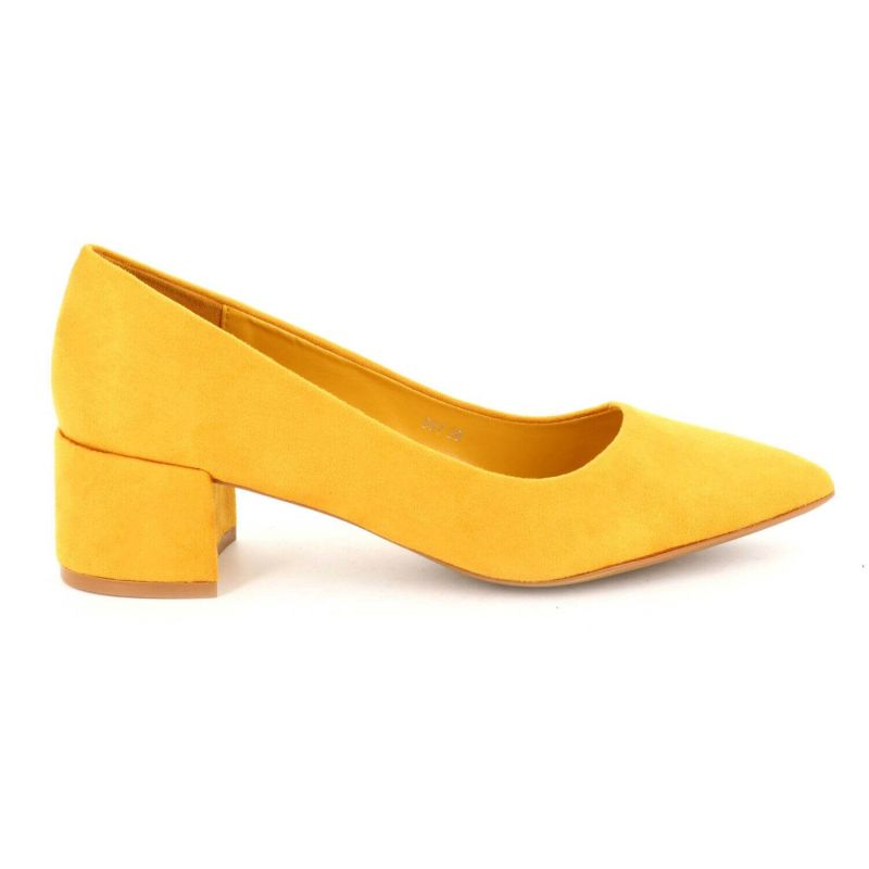 Escarpin Femme Talon Bas Bloc – Chaussure de bureau Classique Couleur JAUNE