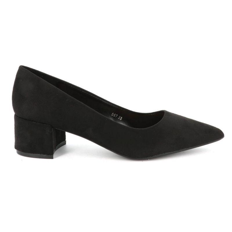 Escarpin Femme Talon Bas Bloc – Chaussure de bureau Classique Couleur NOIR