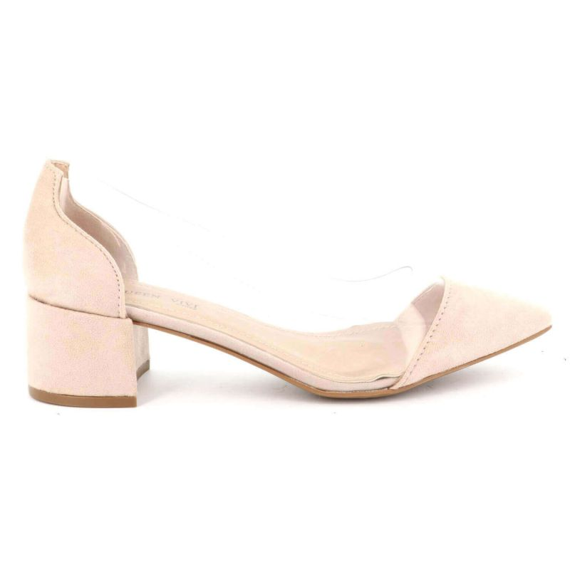 Queen Vivi Escarpin Femme Talon Bas Bloc –Semi-tranparent Velour / Tissu Carré 568 Escarpins