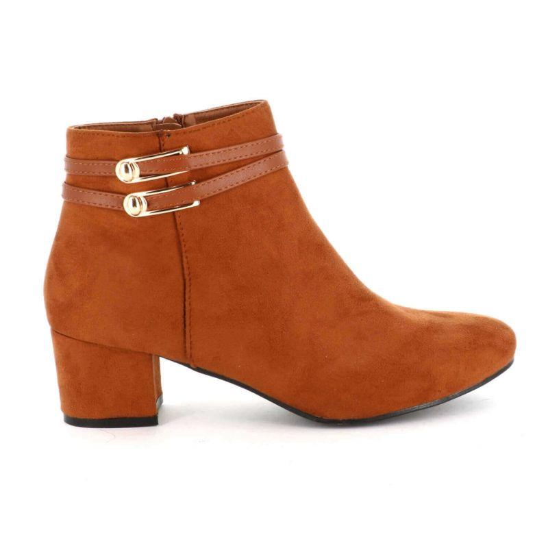 Bottines Daim Grande Taille 41-44 – Boots Femmes Talon Haut Large Couleur CAMEL
