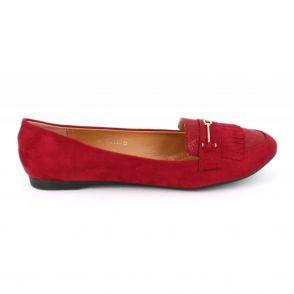 Mocassin Plat Femme A Franges Grande Taille - Chaussures En Daim Bouts Ronds