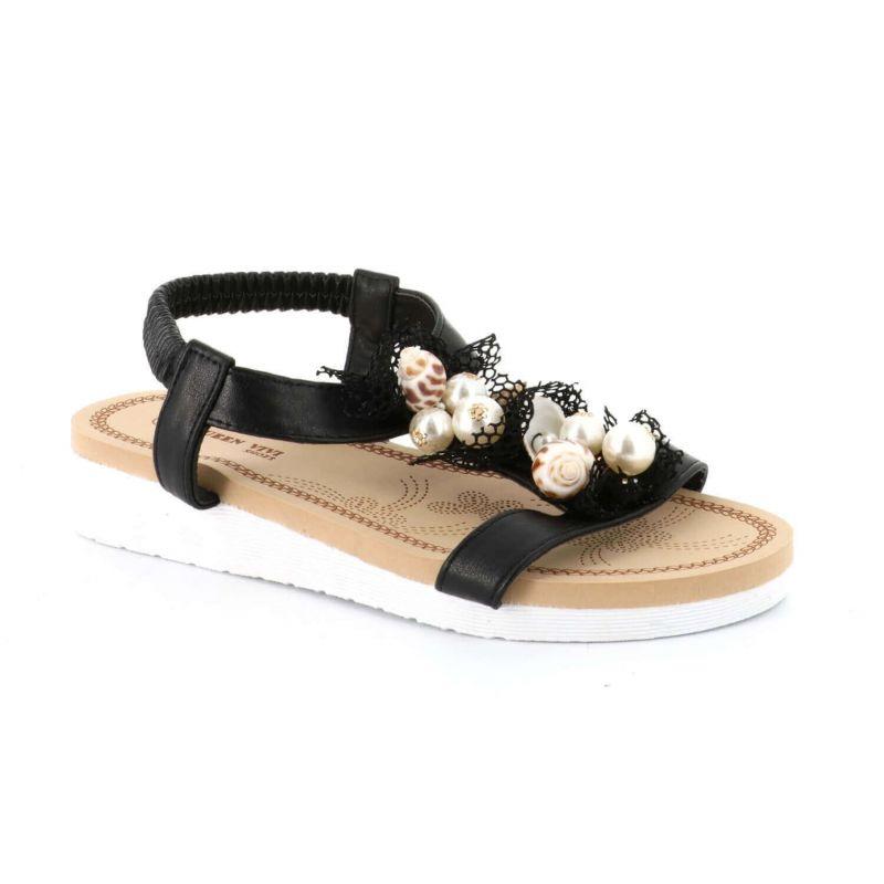 Sandales femme simili cuir avec coquilles et perles Couleur NOIR