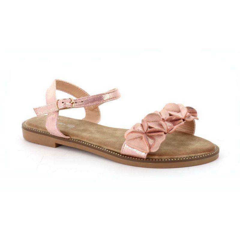 Sandales femme style fleurs brillant effet suède Couleur ROSE