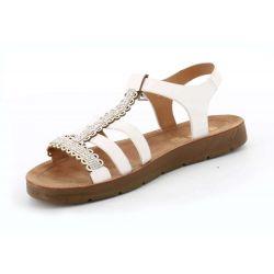 Queen Vivi Sandale femme plate strass en simili cuir L-375 Sandales et Nu-pieds