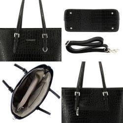 Flora&Co Sac Cabas Femme Croco - Shopper Grande Taille XL 9527