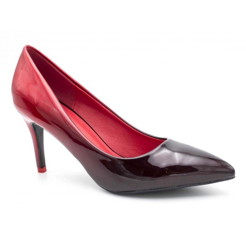 Escarpin Femme Vernis - Chaussure Dégradées Haut Talon Fin 8 CM Couleur NOIR