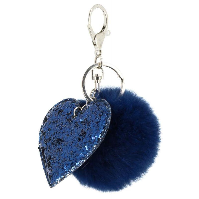Porte clé avec pompom fourre coeur Couleur BLEU