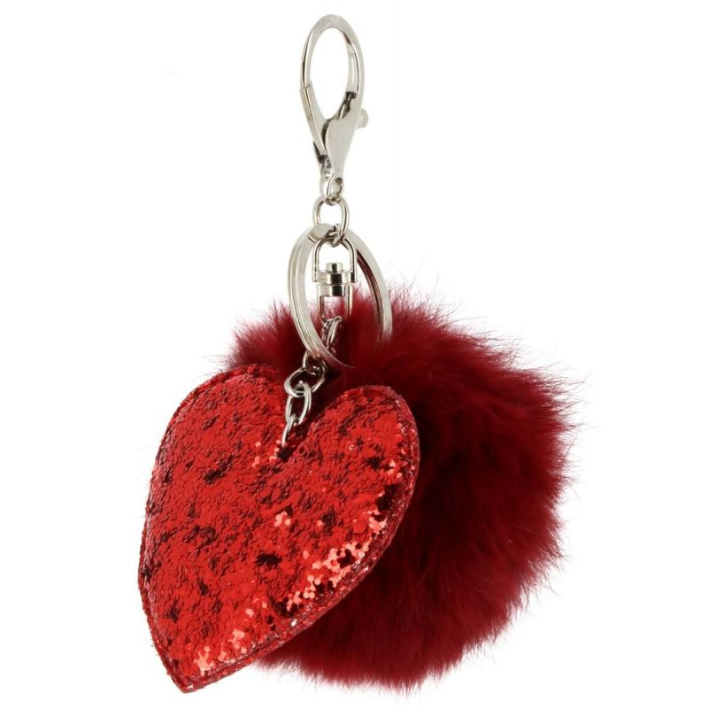 Porte clé avec pompom fourre coeur Couleur BORDEAUX