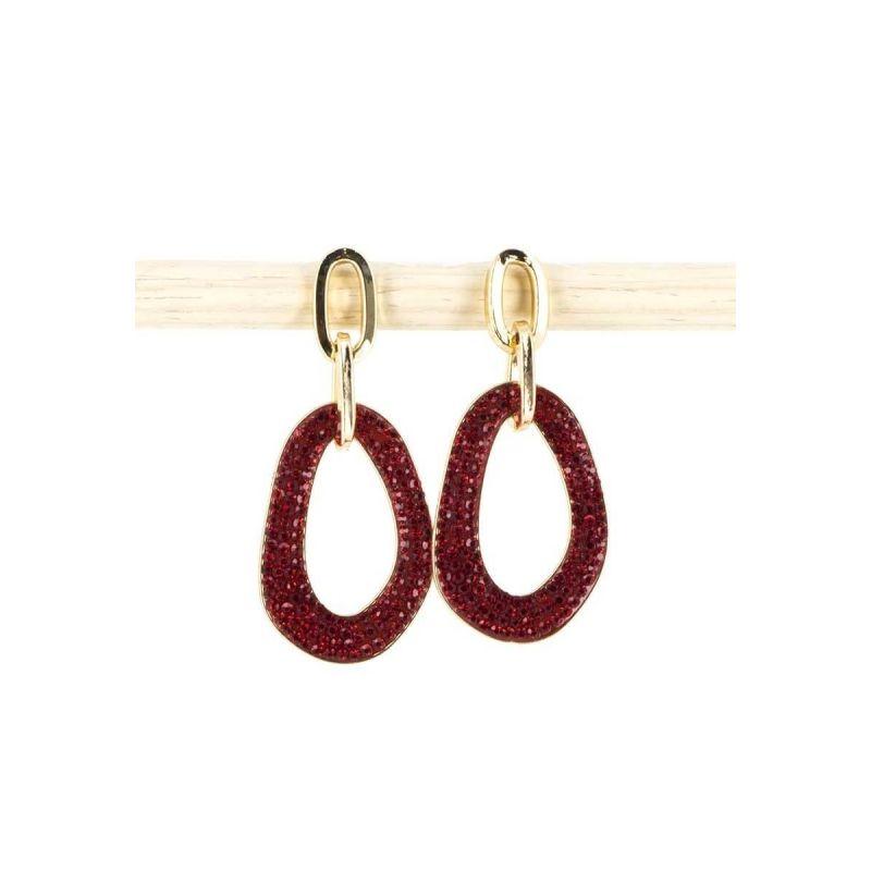 Boucles d'oreilles maillons de chaîne Couleur ROUGE