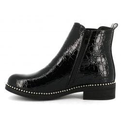Queen Vivi Boots femme zippés à talon carré dessus imitation croco MR-28 Bottes et Bottines