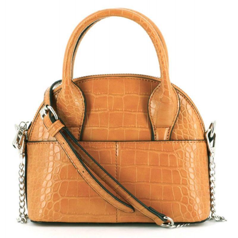 Mini sac à main arrondi avec détail argenté et effet croco Couleur MOUTARDE