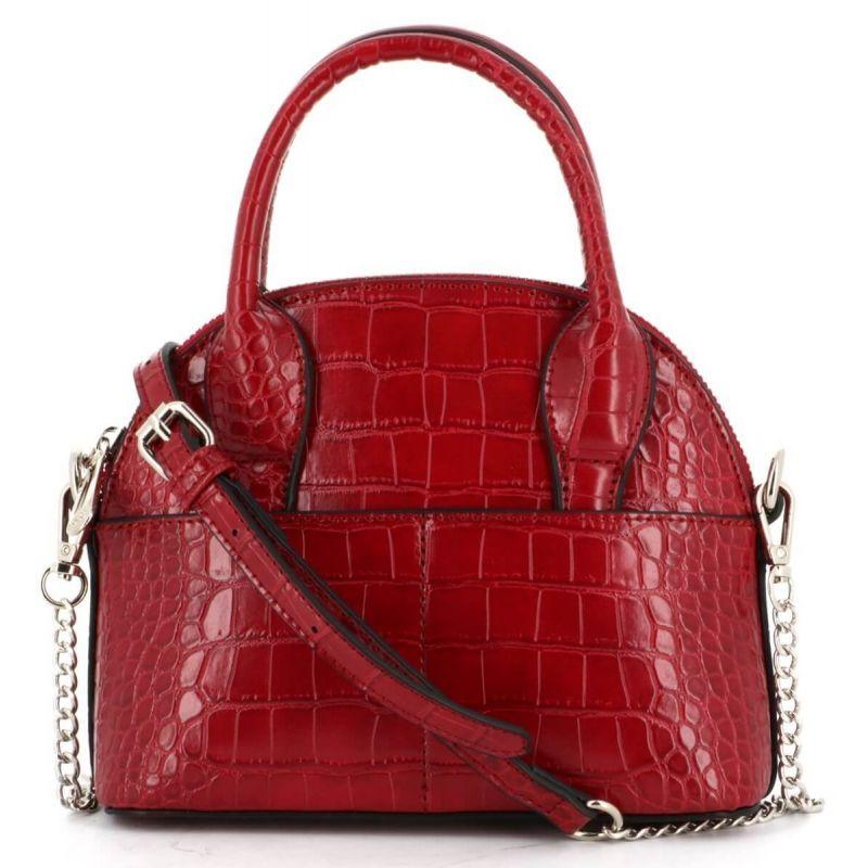 Mini sac à main arrondi avec détail argenté et effet croco Couleur ROUGE