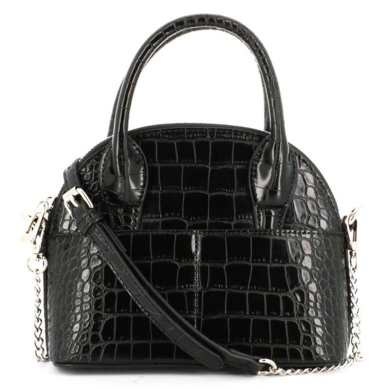 Mini sac à main arrondi avec détail argenté et effet croco Couleur NOIR
