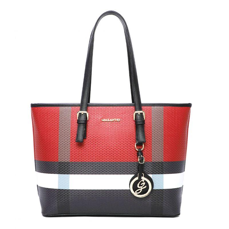 Grand sac à main rayure pendentif Couleur ROUGE