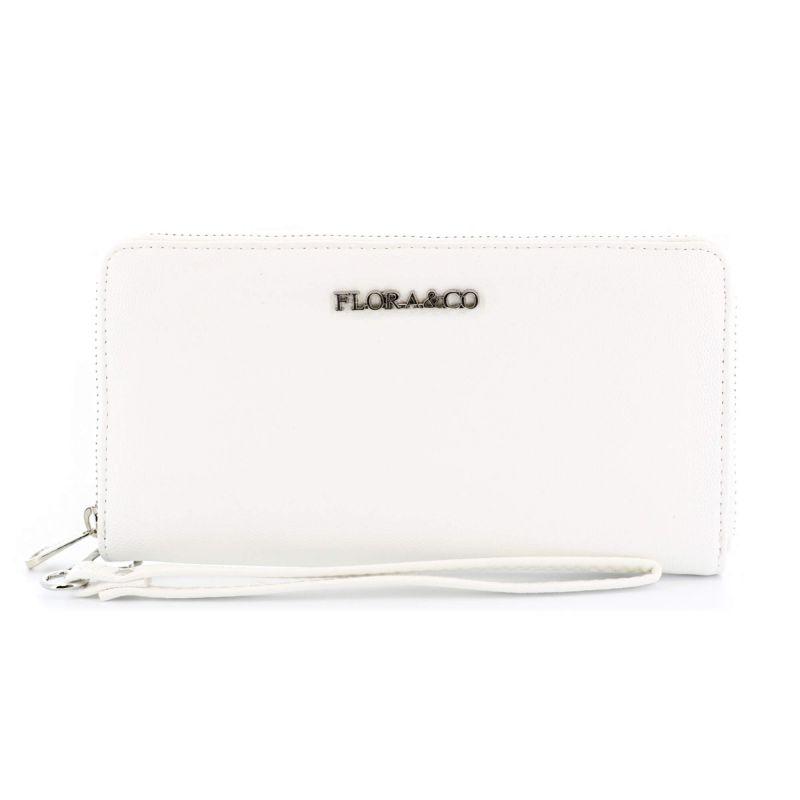 Portefeuille femme long format enveloppe 3 compartiments à lanière Couleur BLANC