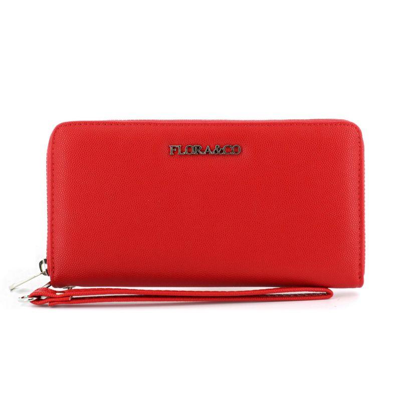 Portefeuille femme long format enveloppe 3 compartiments à lanière Couleur ROUGE