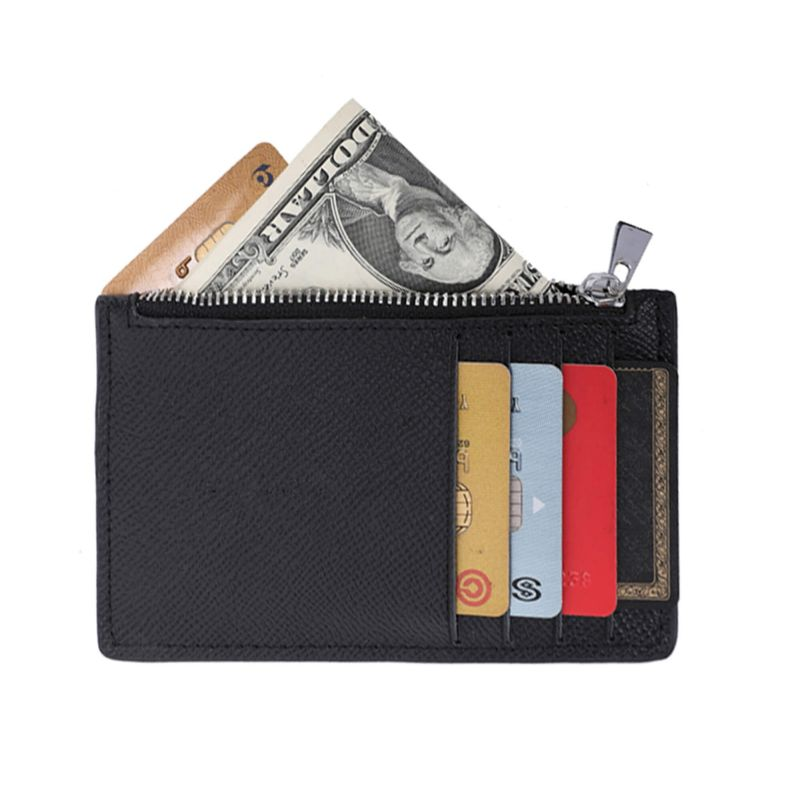 Porte-cartes monnaies fin tout-en-un en cuir véritable pour femme et homme Couleur NOIR