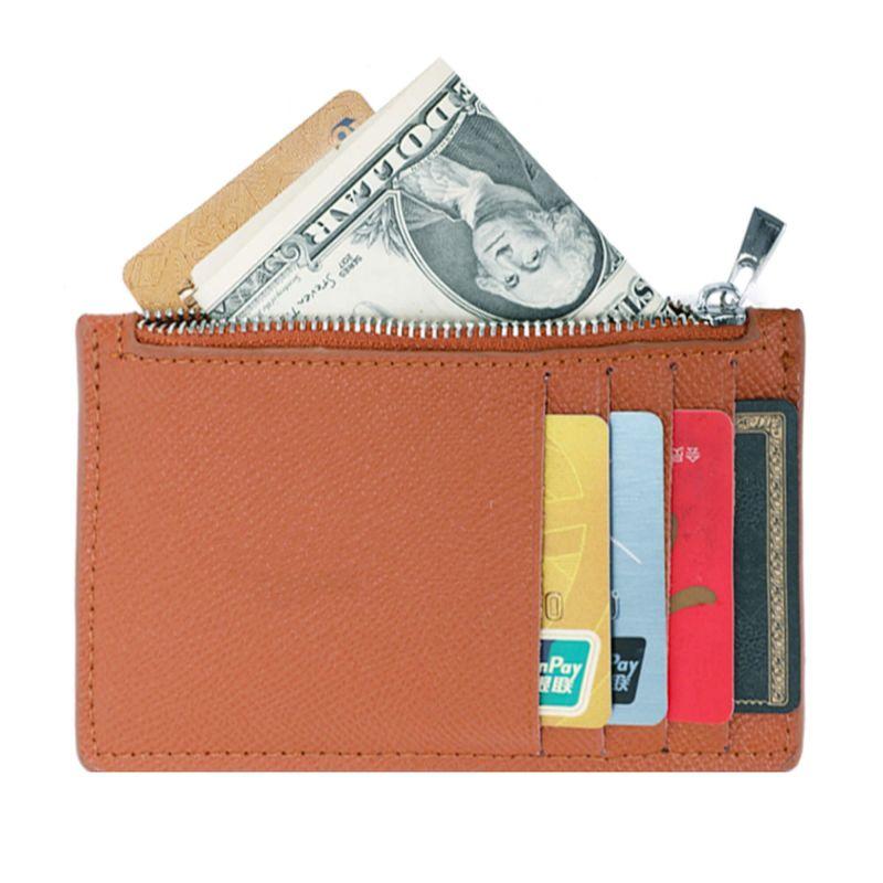 Porte-cartes monnaies fin tout-en-un en cuir véritable pour femme et homme Couleur CAMEL