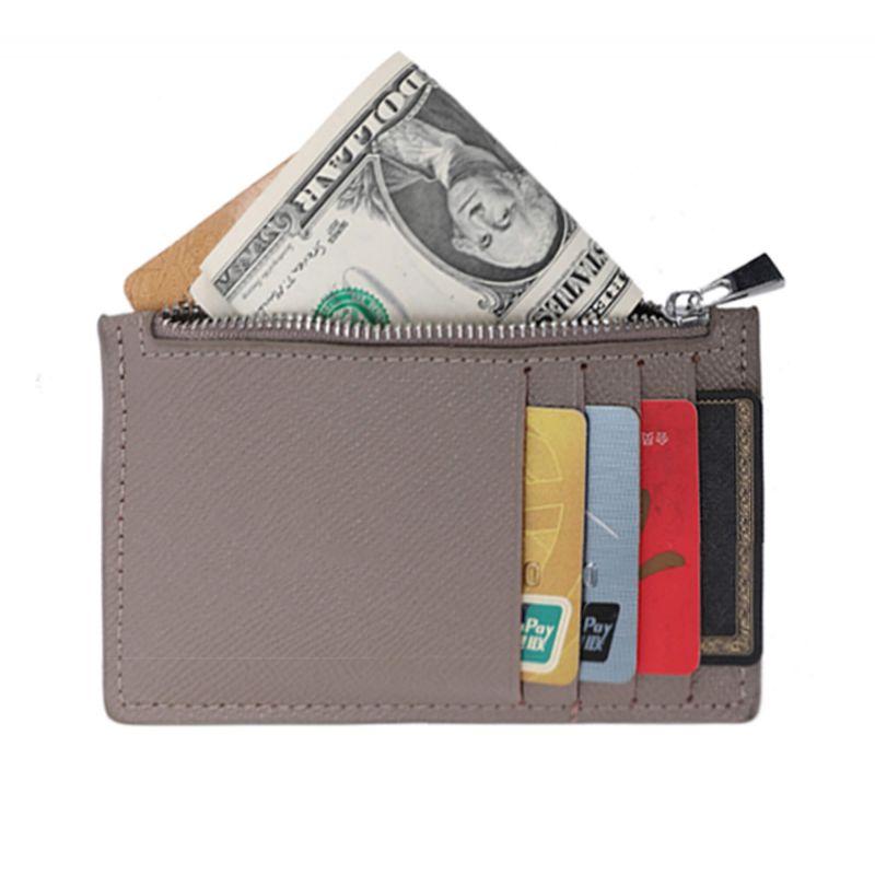 Porte-cartes monnaies fin tout-en-un en cuir véritable pour femme et homme Couleur GRIS